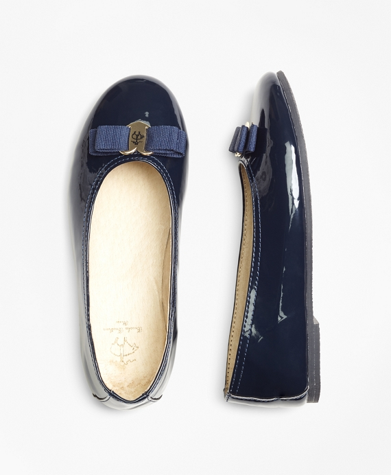 Girls Patent Leather Ballet Flats Navy