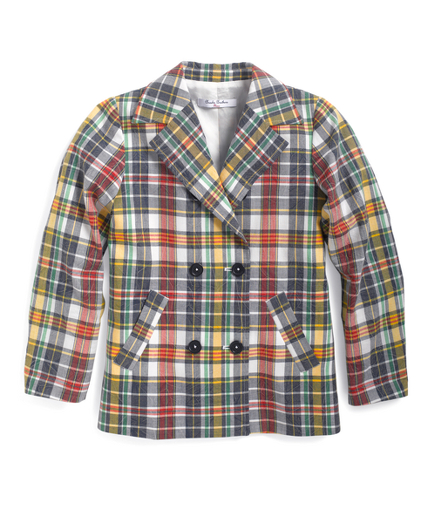 Girls Madras Double-Breasted Jacket