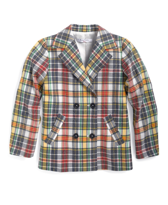 Girls Madras Double-Breasted Jacket Multi