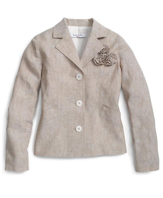 Girls Linen Jacket Tan
