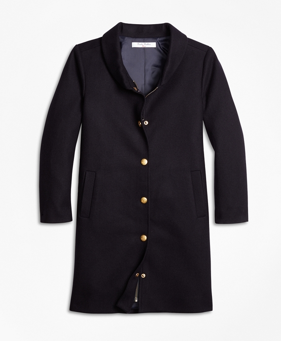 Girls Melton Long Coat Navy