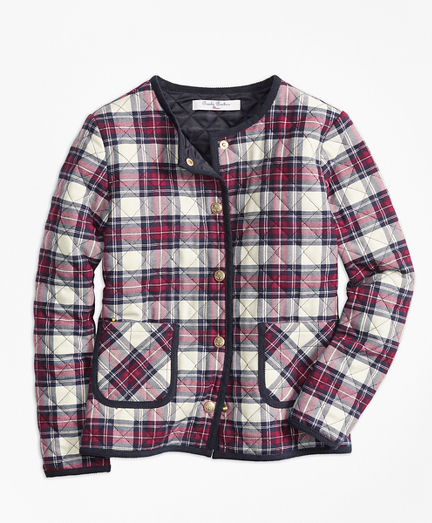 Girls Quilted Twill Plaid Coat