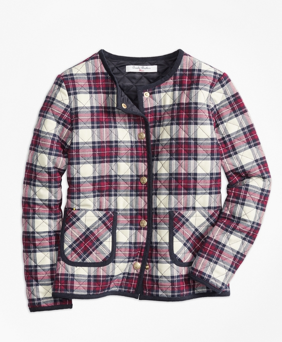 Girls Quilted Twill Plaid Coat White-Multi