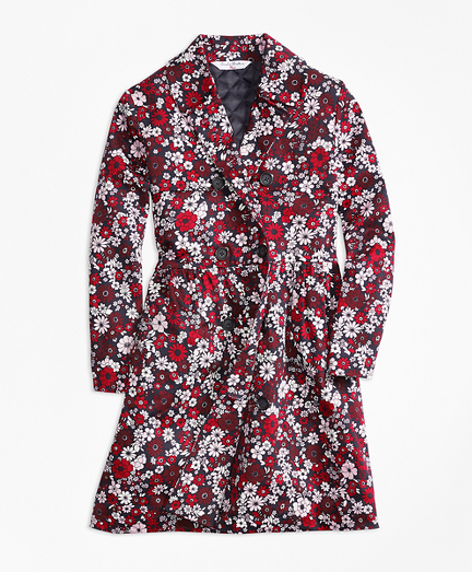 Girls Cotton Sateen Floral Trench