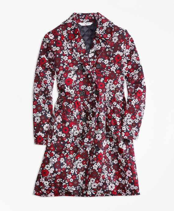 Girls Cotton Sateen Floral Trench Red-Multi