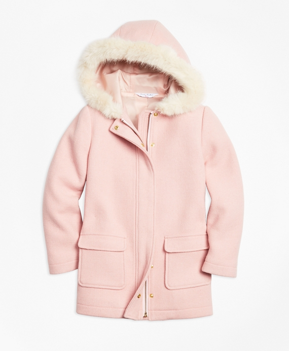 Girls Double-Faced Wool Blend Coat Pink