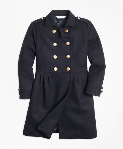 Girls Double-Breasted Long Wool Coat