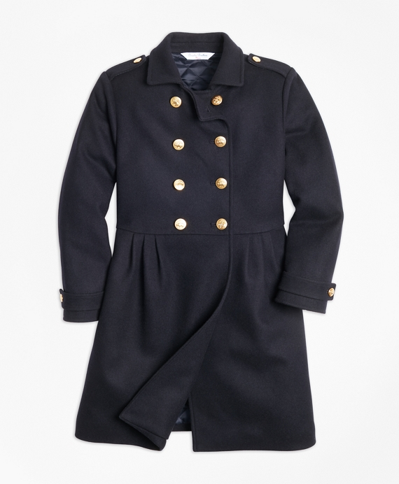 Girls Double-Breasted Long Wool Coat Navy