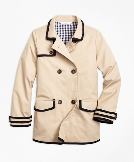 Girls Water-Resistant Cotton-Blend Trench Coat