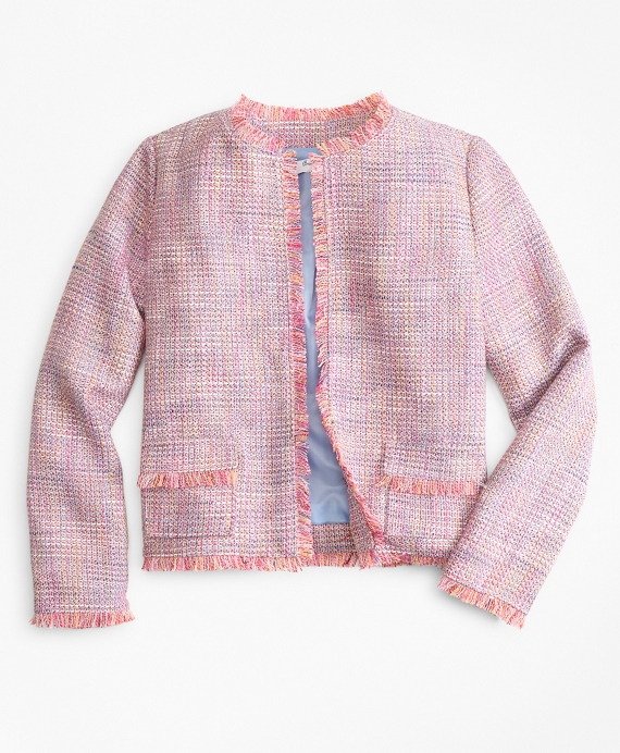 Girls Boucle Jacket Pink-Multi