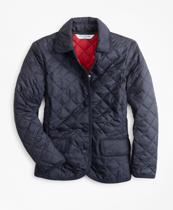 Girls Quilted Jacket Navy