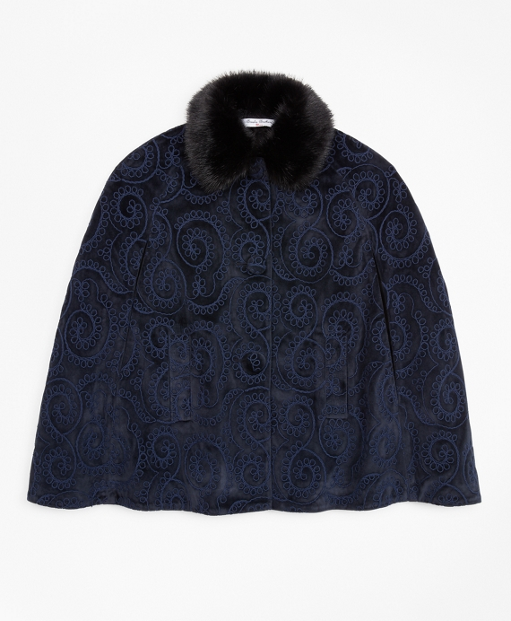 Girls Velvet Cape Navy