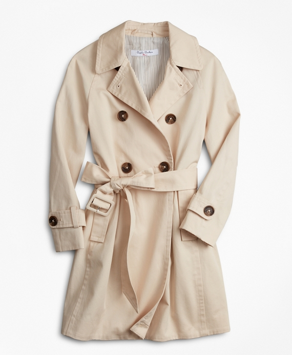 Girls Double-Breasted Trench Coat Khaki