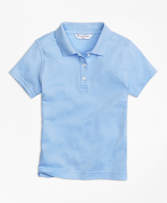 Girls Short-Sleeve Polo Shirt Light Blue