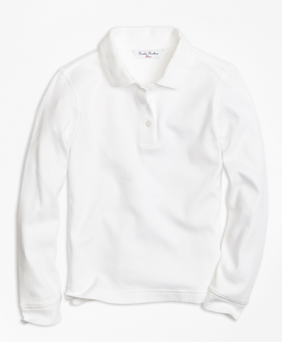 Girls Long-Sleeve Polo Shirt White