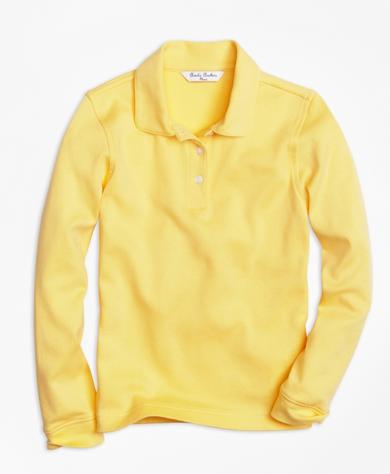 Girls Long-Sleeve Polo Shirt Yellow
