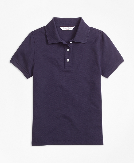 Girls Short-Sleeve Pique Polo Shirt Navy
