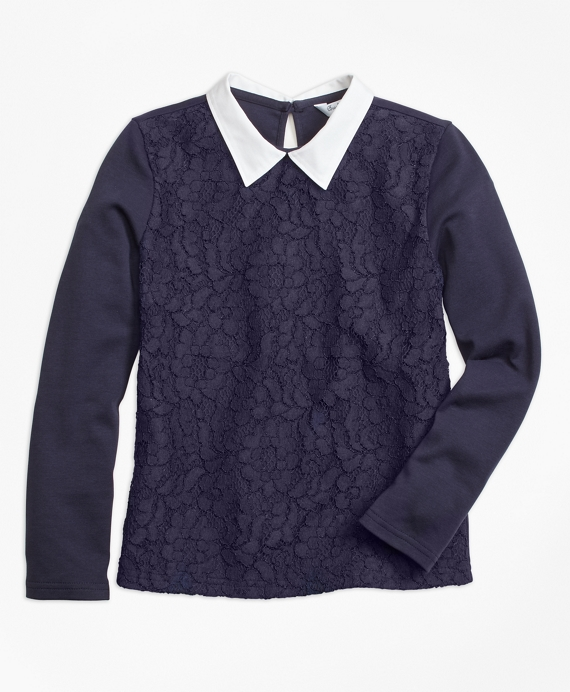 Girls Poplin Collared Lace Top Navy