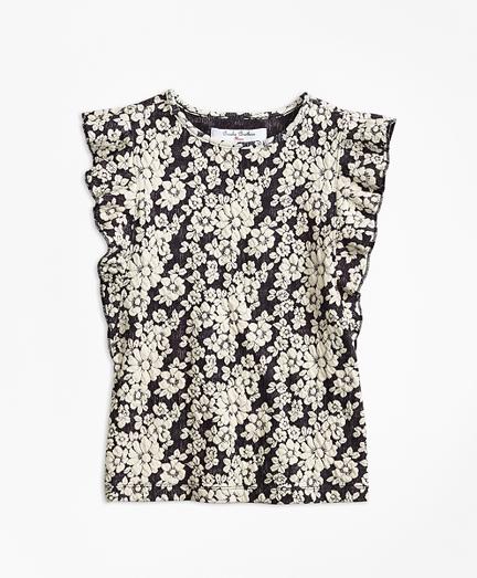 Girls Floral Jacquard Flutter-Sleeve Top