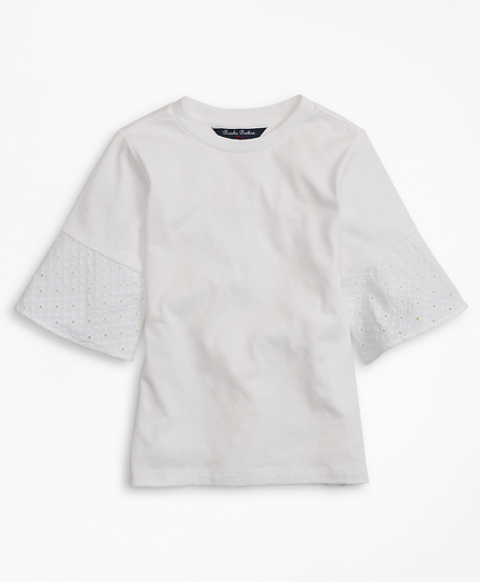 Girls Cotton Eyelet Ruffle T-Shirt
