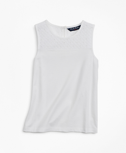 Girls Cotton Eyelet Tank Top