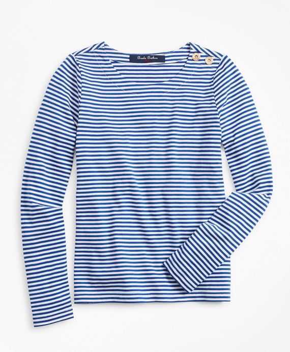 Girls Cotton Blend Stripe T-Shirt Blue-White