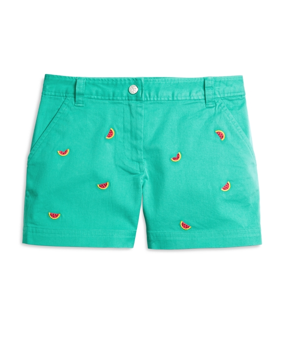 Girls Watermelon Embroidered Shorts Turquoise