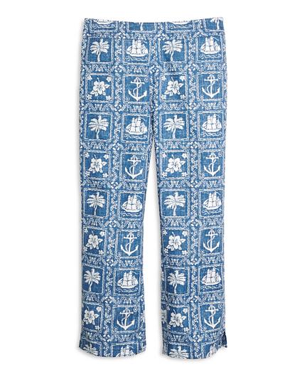 Girls Nautical Print Capri Pants