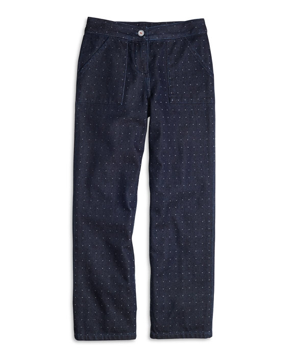 Girls Wide Leg Cotton Dobby Pants Dark Blue