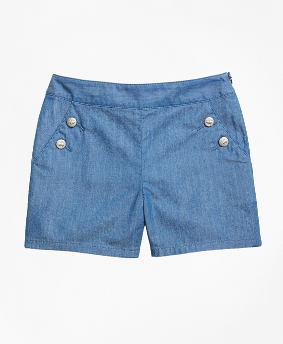 Girls Chambray Shorts Chambray Blue