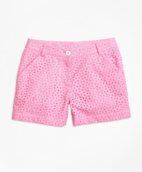 Girls Cotton Eyelet Shorts Pink