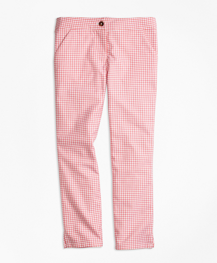 Girls Stretch Cotton Check Pants