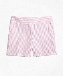 Stretch Cotton Seersucker Shorts