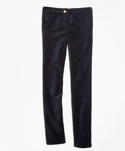 Girls Stretch Velvet Cotton Five-Pocket Pants