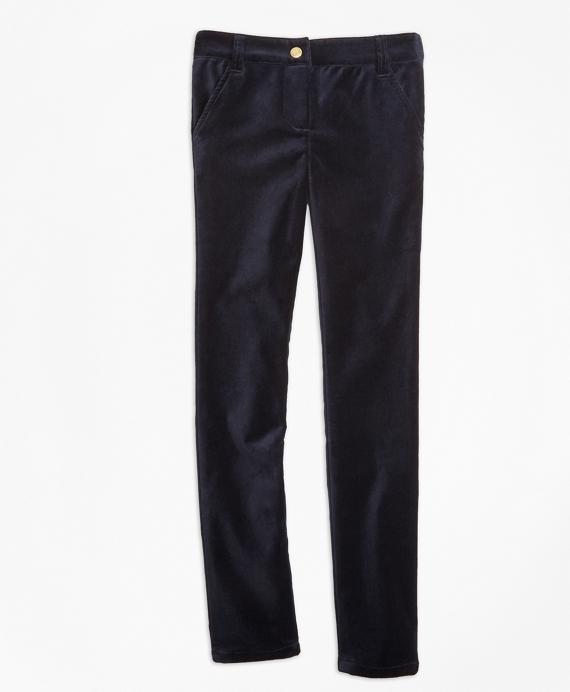 Girls Stretch Velvet Cotton Five-Pocket Pants Navy