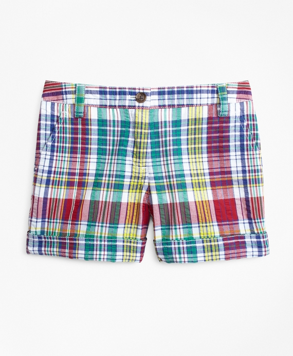 Girls Cotton Madras Shorts Multi