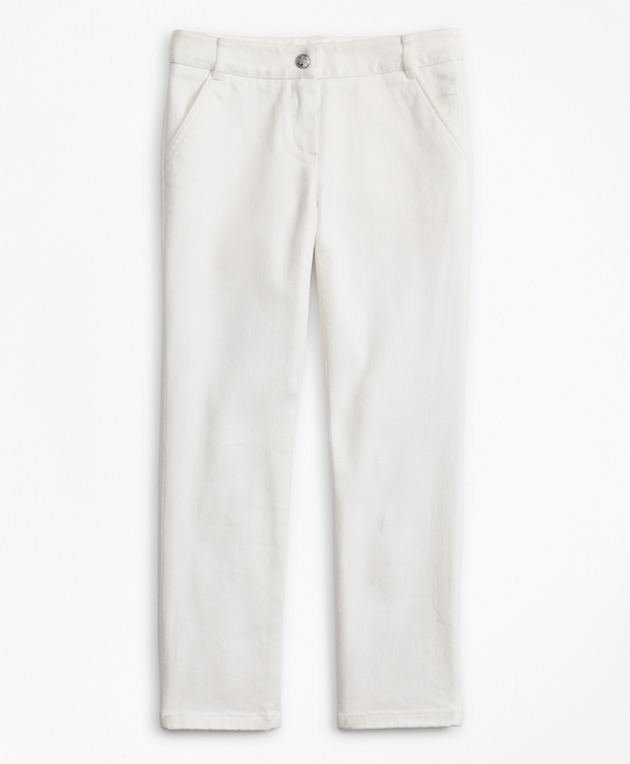 Girls Cotton Twill Pants Off White