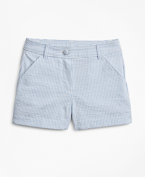 Girls Seersucker Shorts Blue-White