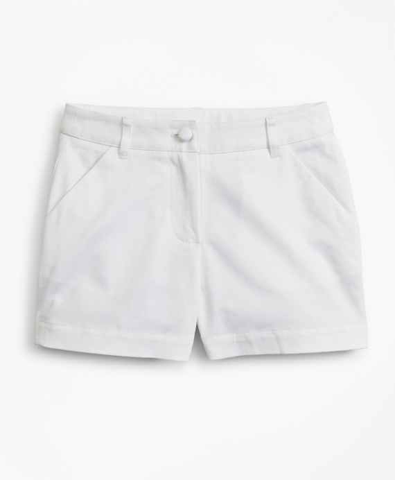 Girls Cotton Twill Shorts White