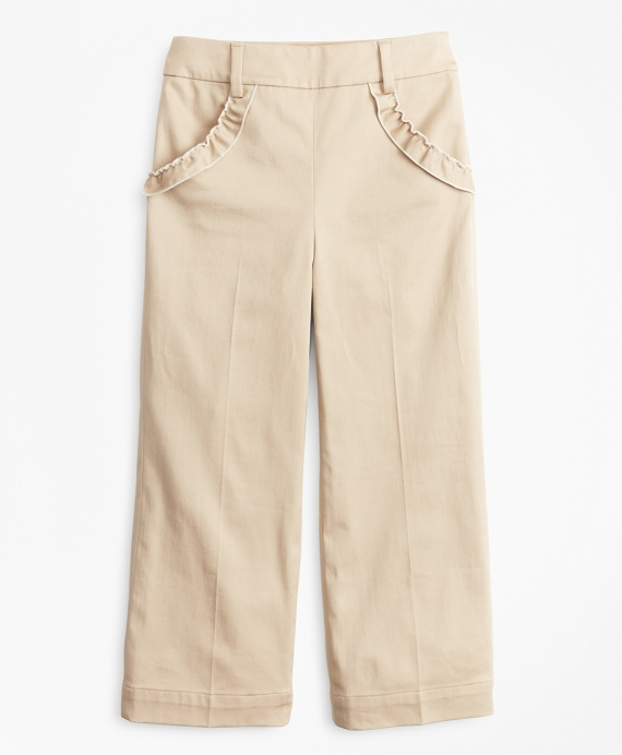 Girls Cotton Blend High Rise Ruffle Pants Khaki