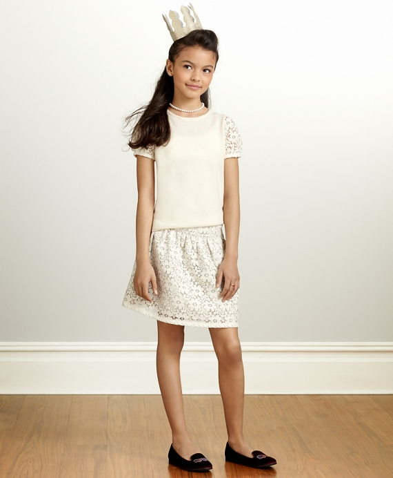 Girls Short-Sleeve Cashmere Sweater - Brooks Brothers deffd3317