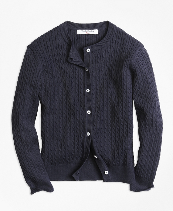 Girls Long-Sleeve Mini Cable Cardigan Navy