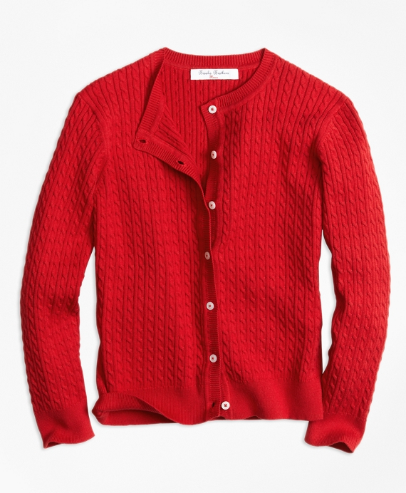 Girls Long-Sleeve Mini Cable Cardigan Red