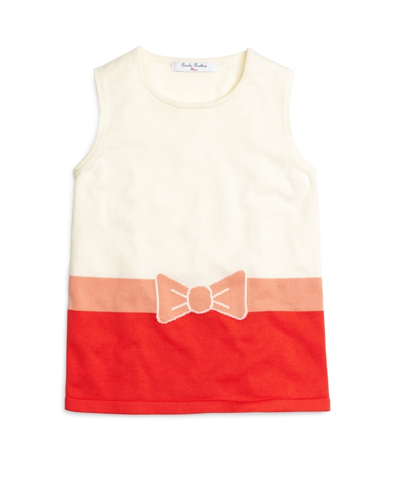 Girls Intarsia Bow Color-Block Sweater White