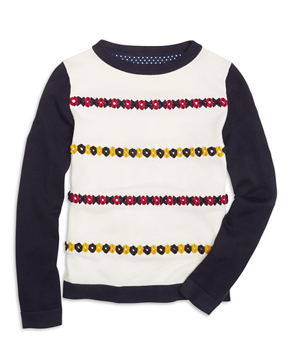 Girls Cotton XO Embroidered Boatneck Sweater