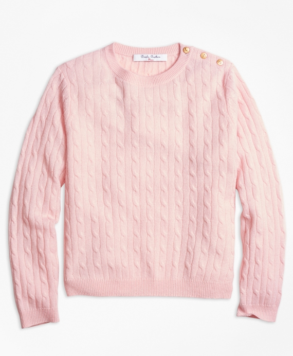 Girls Cashmere Cable Crewneck Sweater Pink
