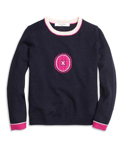 Girls Merino Wool Intarsia Sweater