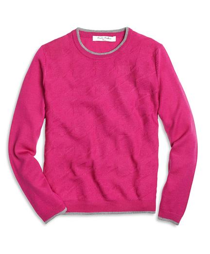Girls Merino Wool Houndstooth Sweater