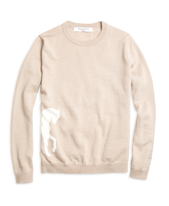 Girls Merino Wool Horse Intarsia Sweater Oatmeal