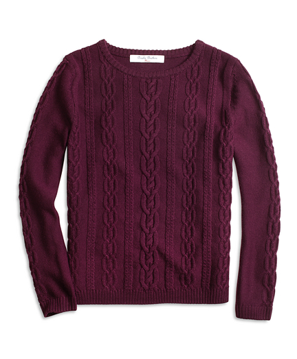 Girls Merino Wool Cable Crewneck Sweater